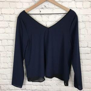 Paper Crane V-neck V-back blue blouse